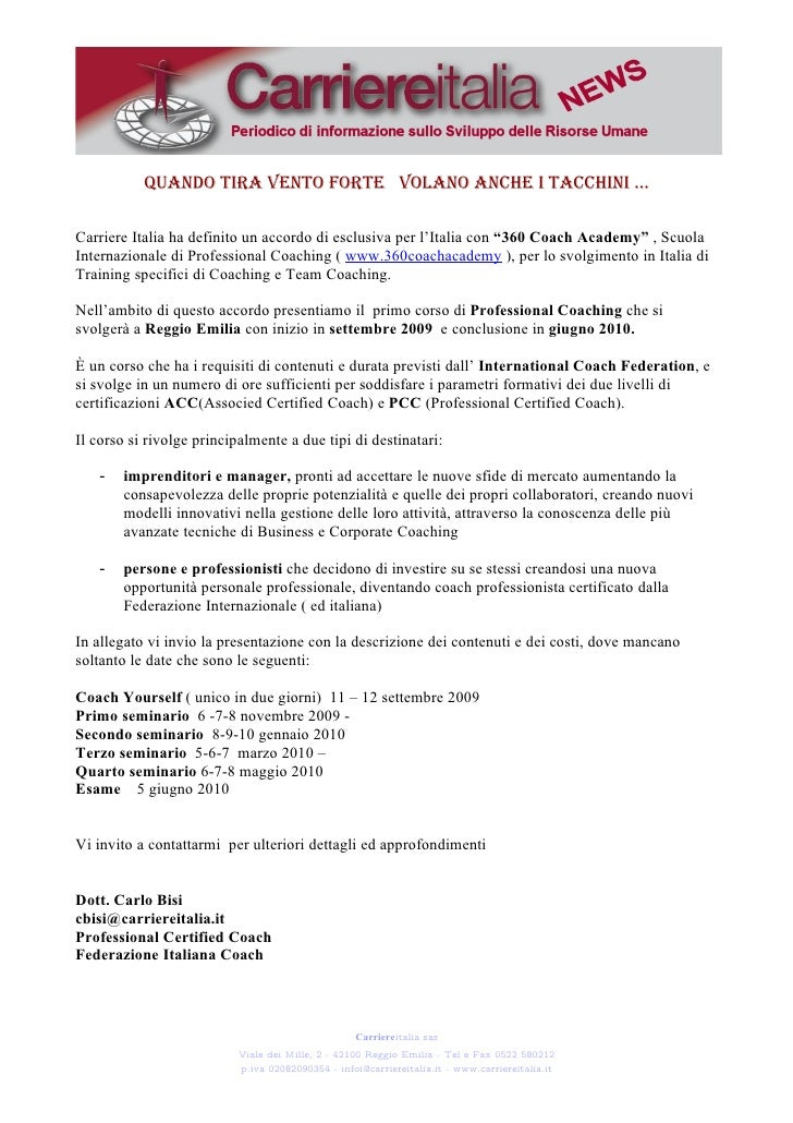 Newsletter Testo Corso Coach