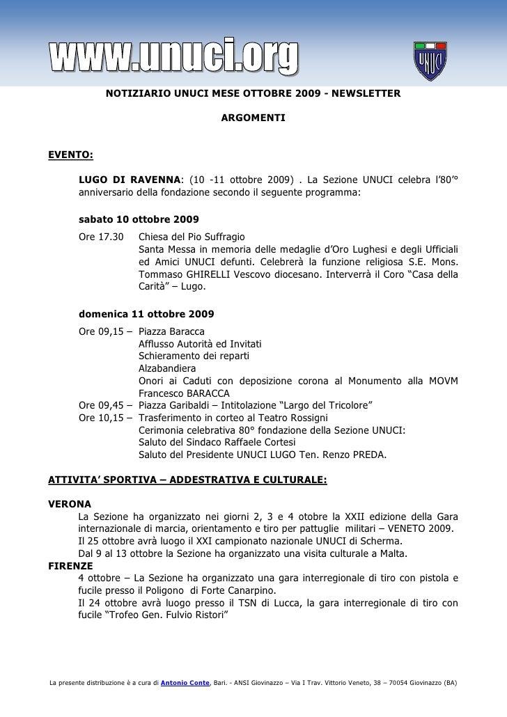 NOTIZIARIO UNUCI MESE OTTOBRE 2009 - NEWSLETTER                                                          ARGOMENTI   EVENT...