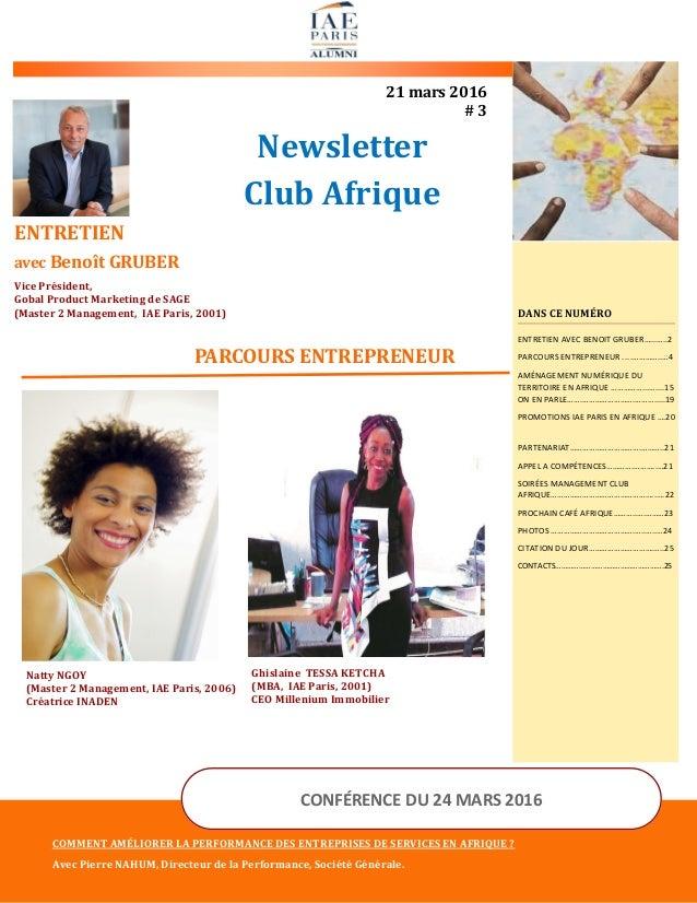 Newsletter Club Afrique 21 mars 2016 # 3 PARCOURS ENTREPRENEUR COMMENT AMÉLIORER LA PERFORMANCE DES ENTREPRISES DE SERVICE...