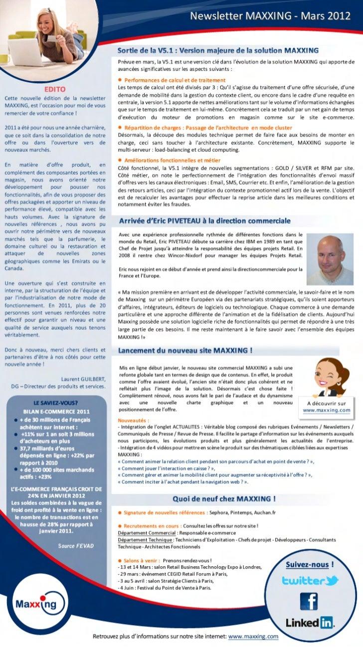 Newsletter MAXXING Mars 2012