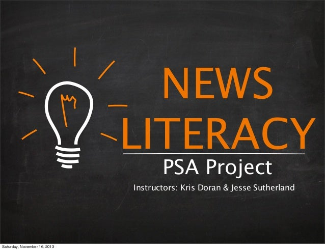 News Literacy PSA Project - JEA Fall Conference 2013