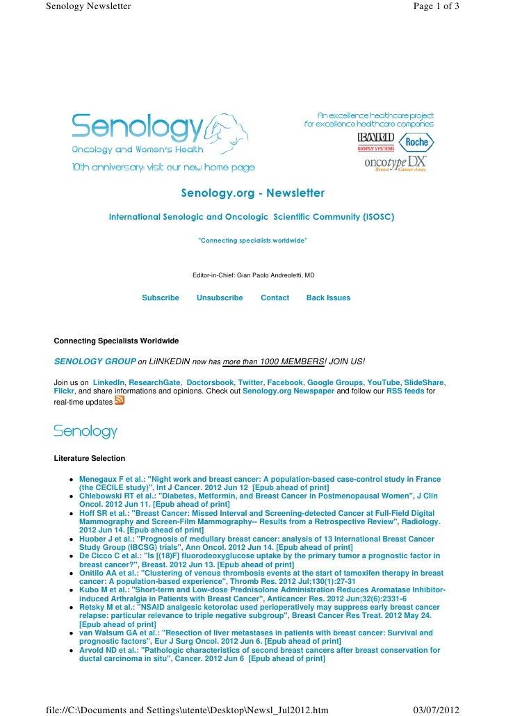 Senology Newsletter - July 3, 2012