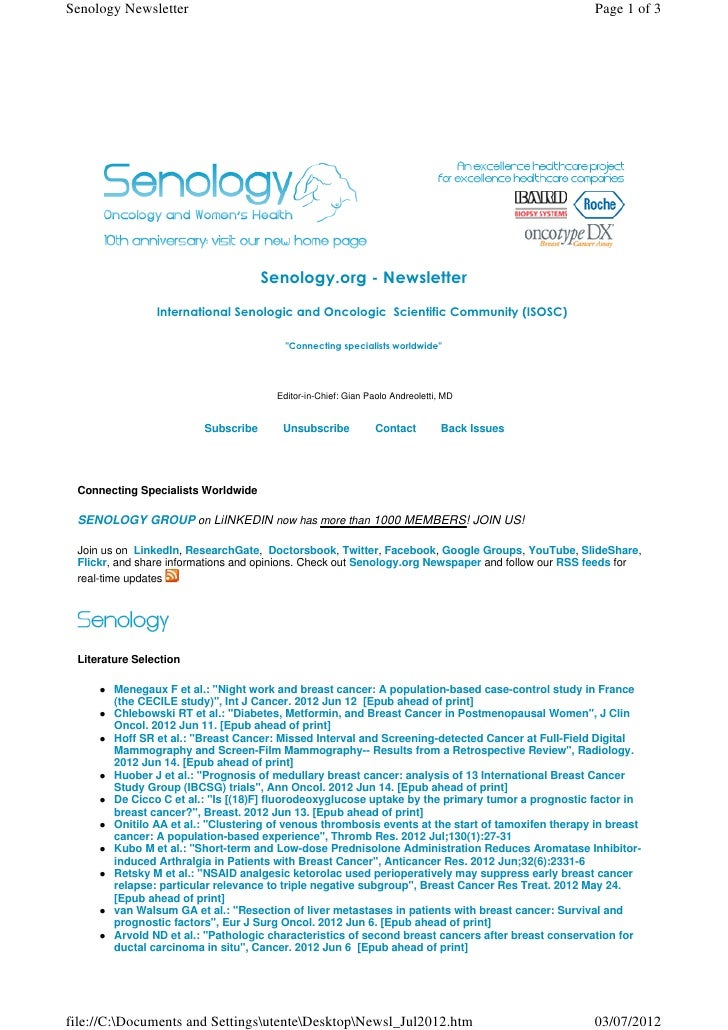 Senology Newsletter - July 3, 2012