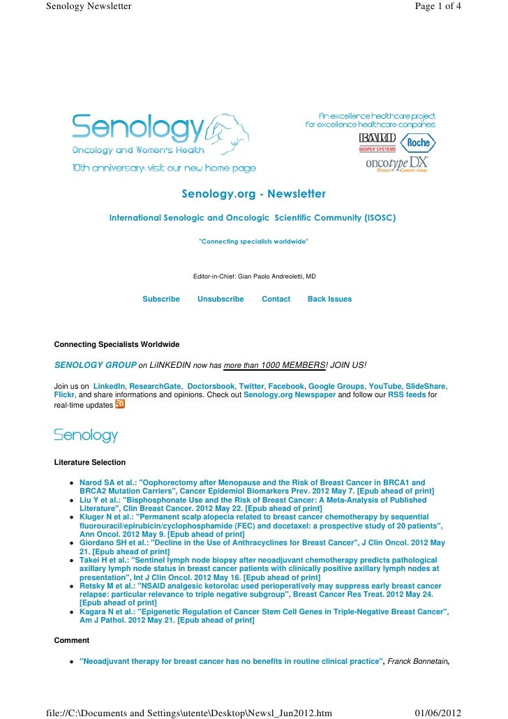 Senology.org Newsletter - June 1, 2012
