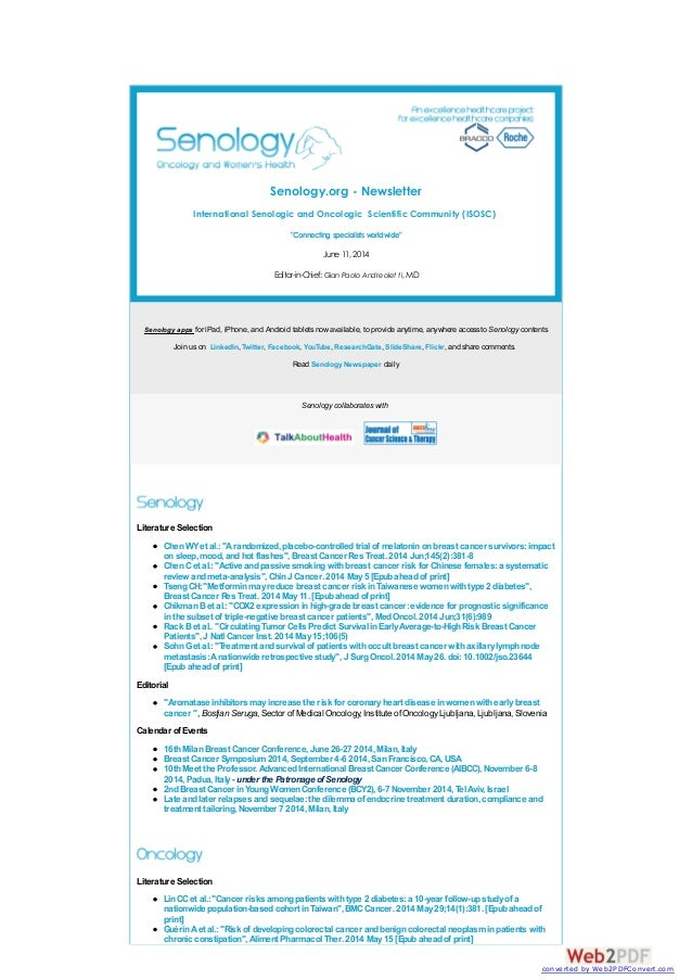 "Senology.org - Newsletter International Senologic and Oncologic Scientific Community (ISOSC) ""Connecting specialistsworldw..."