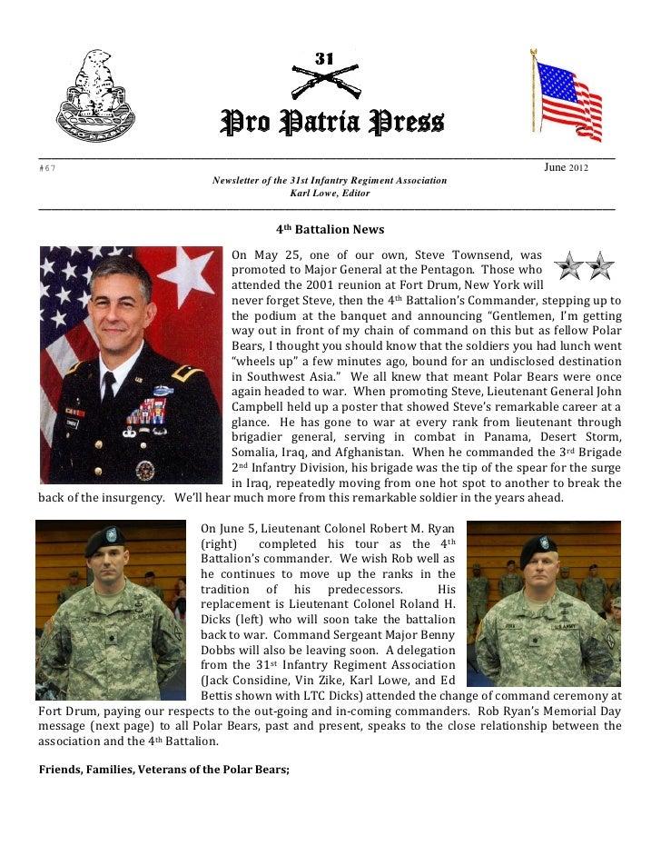 31st Infantry Regiment June 2012 Newsletter