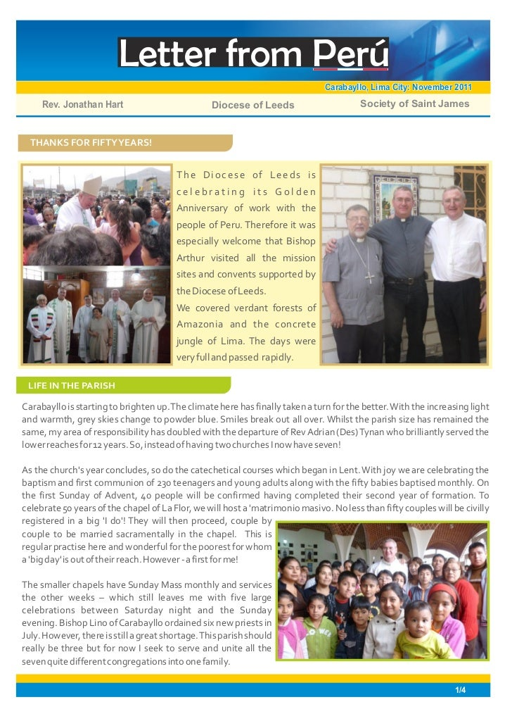 Letter from Perú                                                                               Carabayllo, Lima City: Nove...
