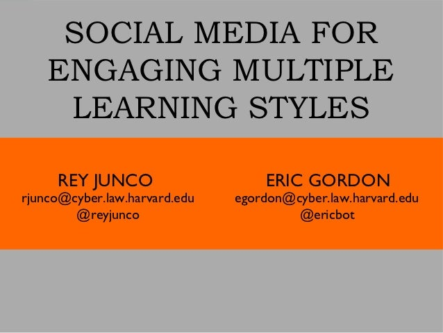 SOCIAL MEDIA FOR    ENGAGING MULTIPLE     LEARNING STYLES     REY JUNCO                     ERIC GORDONrjunco@cyber.law.ha...