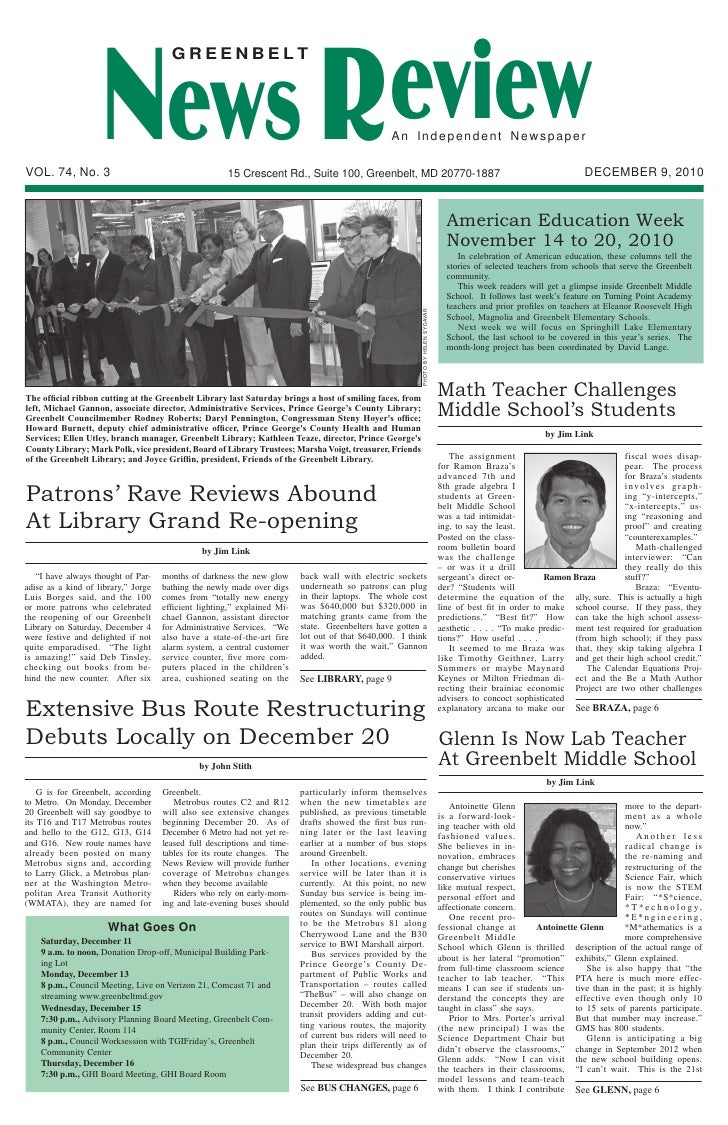 News Article - Antoinette Glenn Greenbelt Middle School Teacher