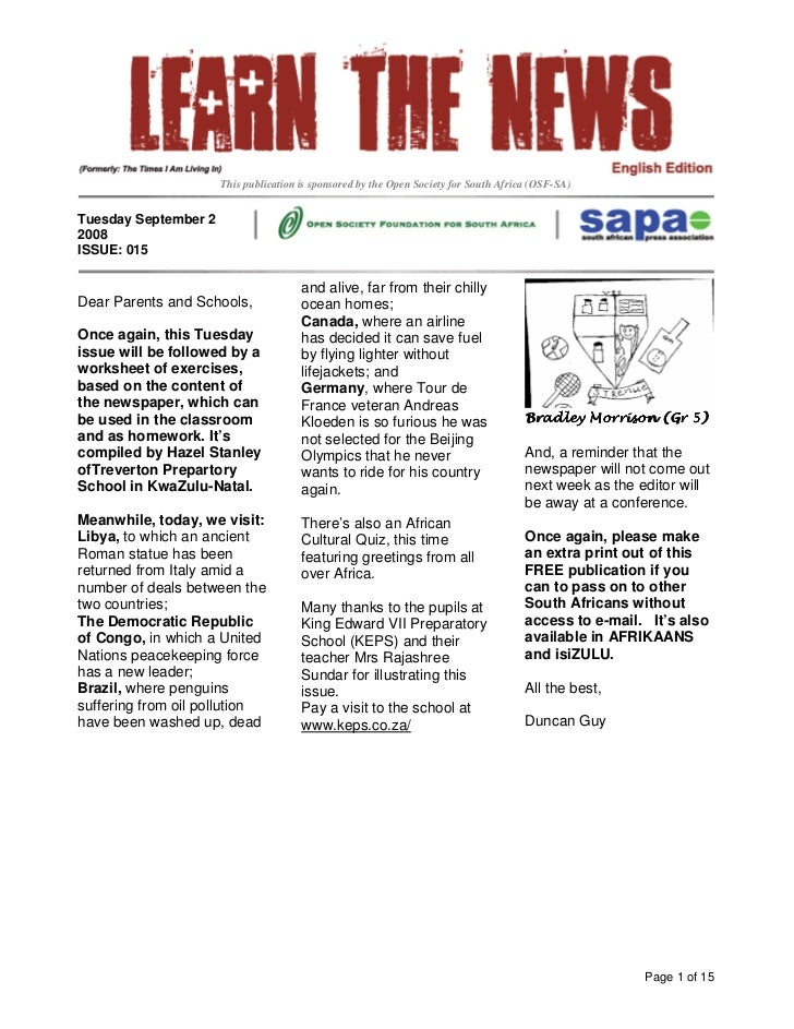 This publication is sponsored by the Open Society for South Africa (OSF-SA)   Tuesday September 2 2008 ISSUE: 015         ...