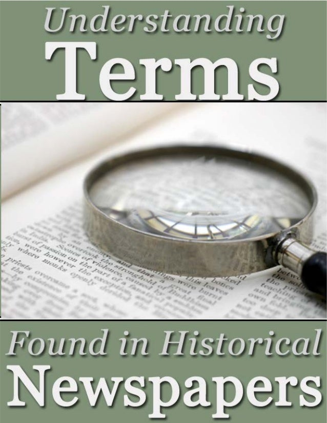Understanding Newspaper Terminology in Historical Newspapers