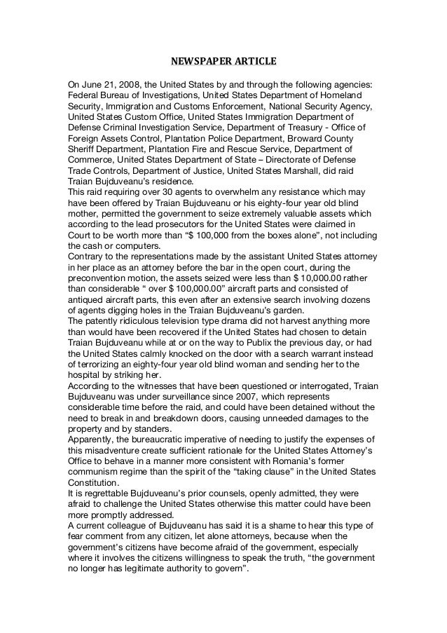 NEWSPAPER  ARTICLE      On June 21, 2008, the United States by and through the following agencies: Federal Bureau of...