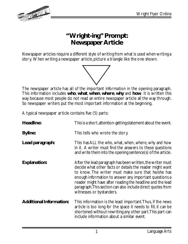 """Language Arts Wright Flyer Online 1 """"Wright-ing"""" Prompt: Newspaper Article Newspaper articles require a different style of..."""
