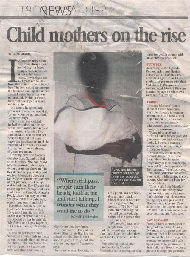 Newspaper article: teenagers with parenting responsibilities,Uganda chapter, june 2013