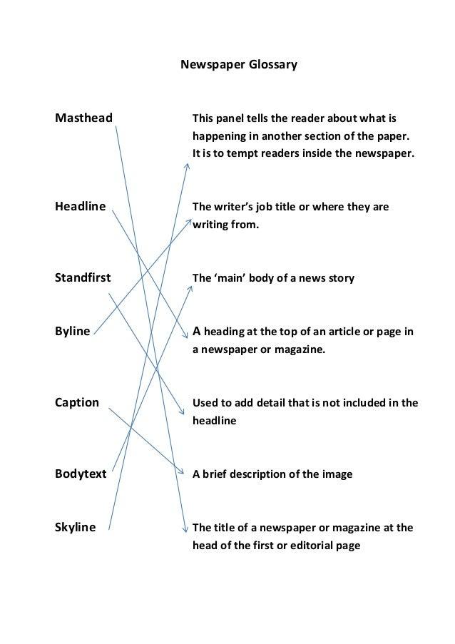 Newspaper glossary