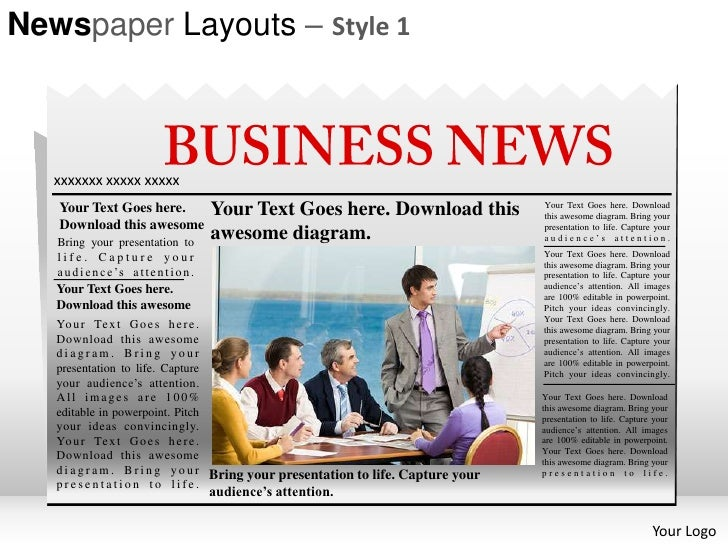 Newspaper layouts style 1 powerpoint presentation templates