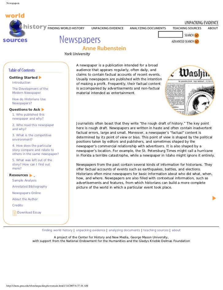 Newspapers                                                         A newspaper is a publication intended for a broad      ...