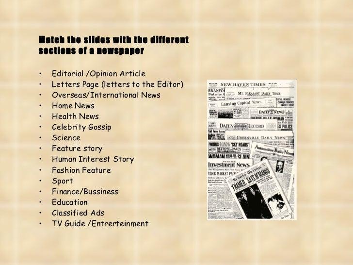 Elements of a newspaper