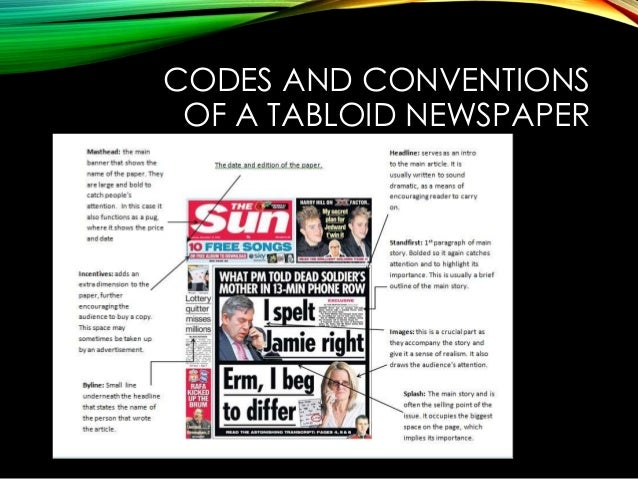 What are the codes and conventions of the times newspaper?