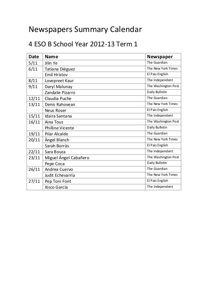 Newspapers Summary Calendar4 ESO B School Year 2012-13 Term 1Date    Name                         Newspaper5/11    Jilin Y...