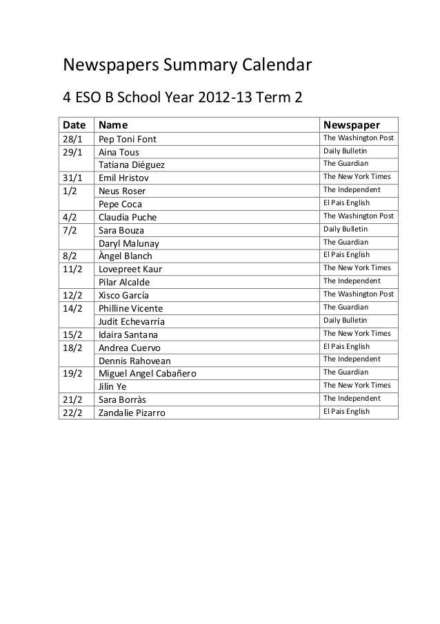 Newspapers Summary Calendar4 ESO B School Year 2012-13 Term 2Date   Name                          Newspaper28/1   Pep Toni...