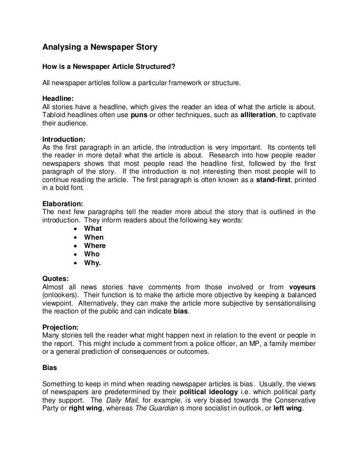 Analysing a Newspaper StoryHow is a Newspaper Article Structured?All newspaper articles follow a particular framework or s...