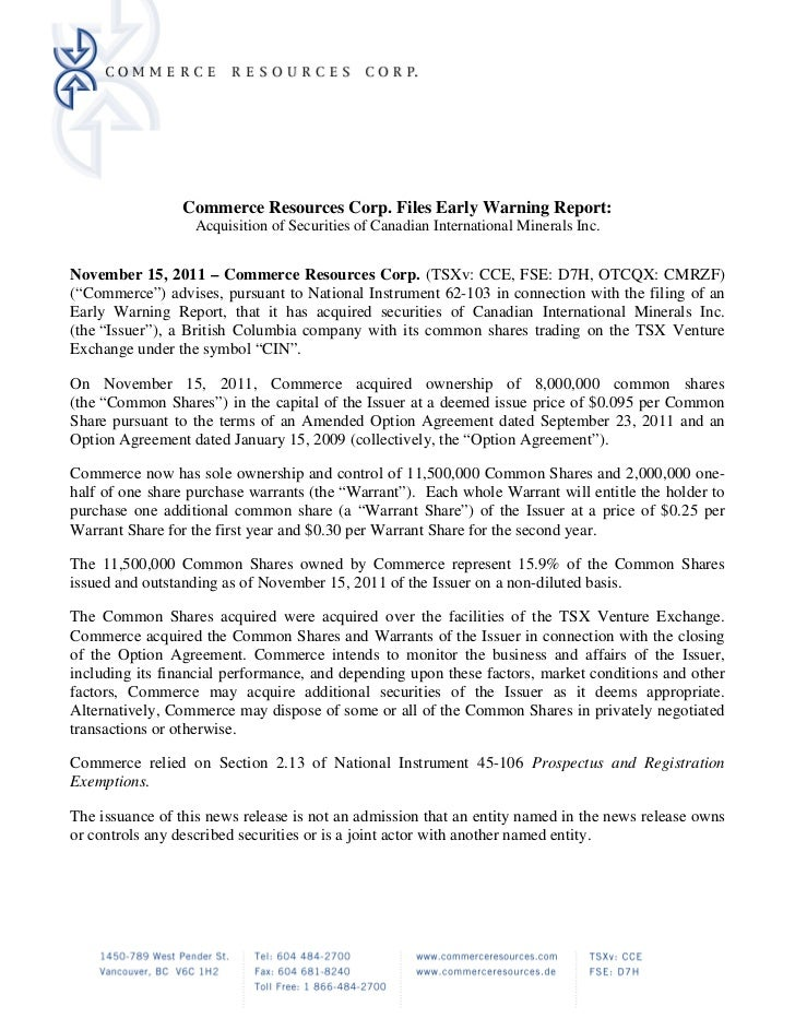 Commerce Resources Corp. Files Early Warning Report:                  Acquisition of Securities of Canadian International ...