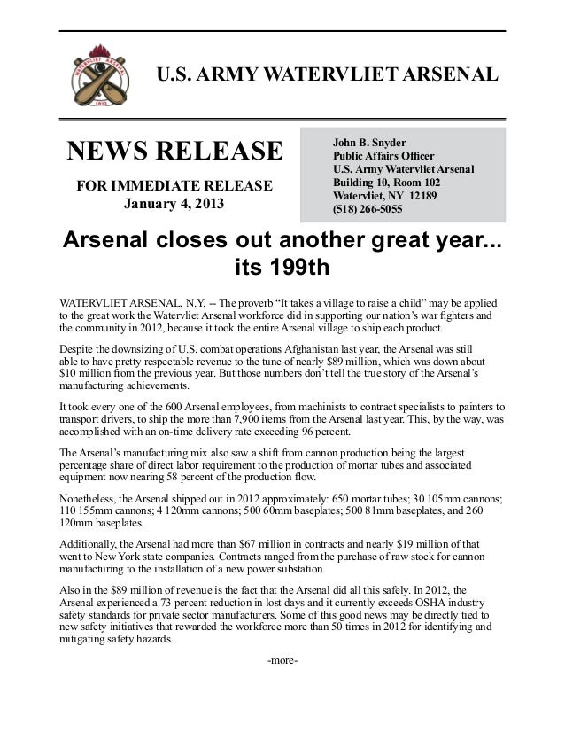 News release   arsenal closes out another great year...its 199th - jan. 2013