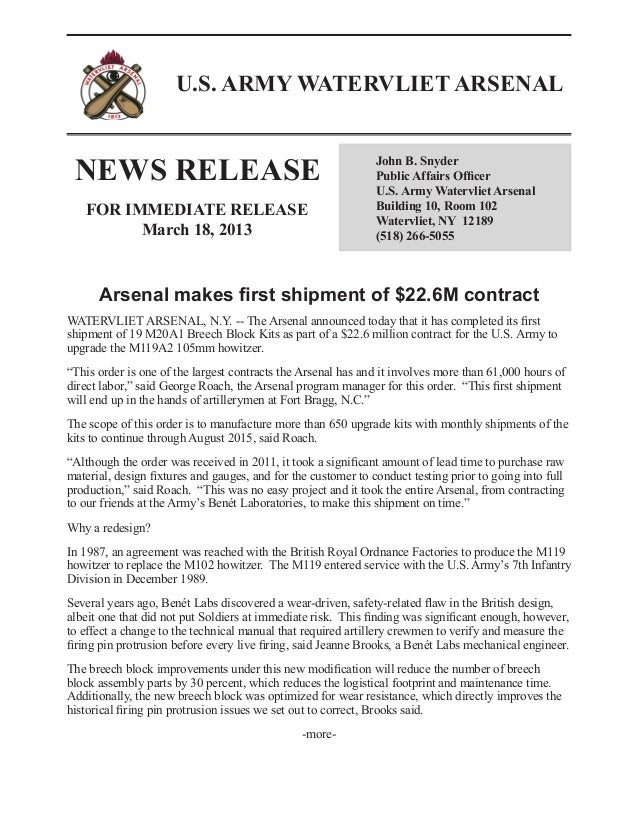 News release:  Arsenal makes first shipment of $22.6M contract - March 2013