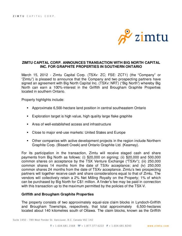 News Release:  Big North Graphite Transaction
