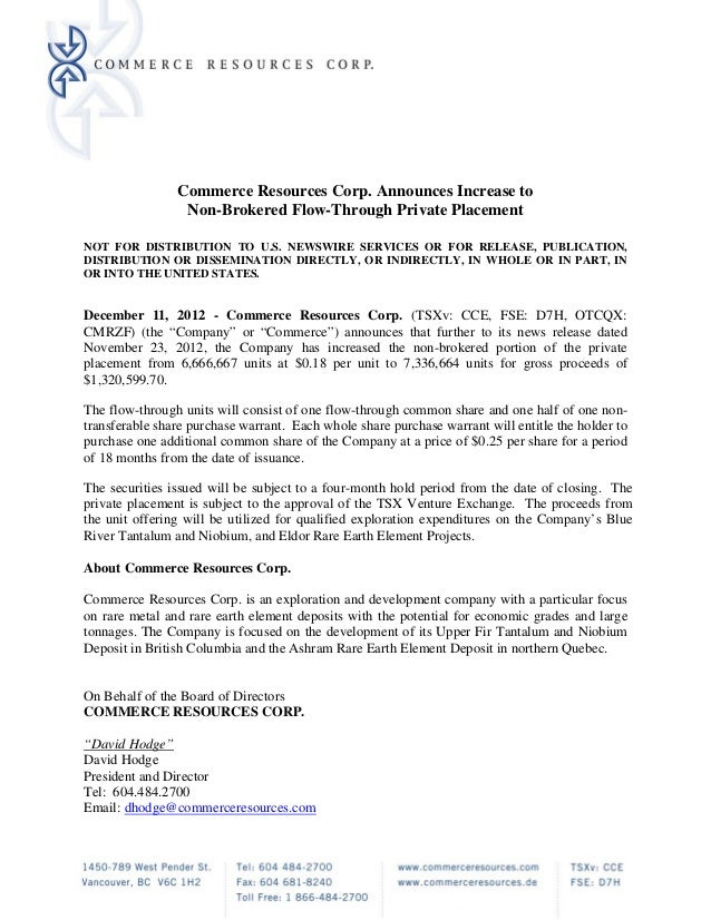 Commerce Resources Corp. Announces Increase to                 Non-Brokered Flow-Through Private PlacementNOT FOR DISTRIBU...
