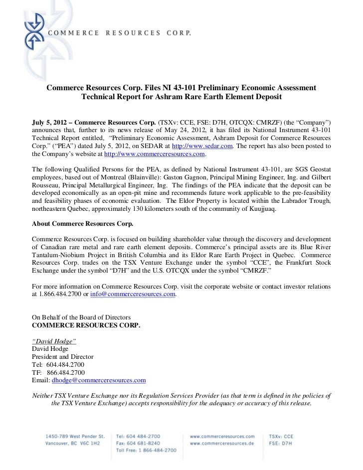 Commerce Resources Corp. Files NI 43-101 Preliminary Economic Assessment             Technical Report for Ashram Rare Eart...