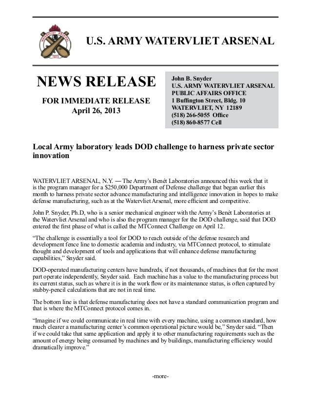 U.S. ARMY WATERVLIET ARSENALNEWS RELEASE John B. SnyderU.S. ARMY WATERVLIET ARSENALPUBLIC AFFAIRS OFFICE1 Buffington Stree...
