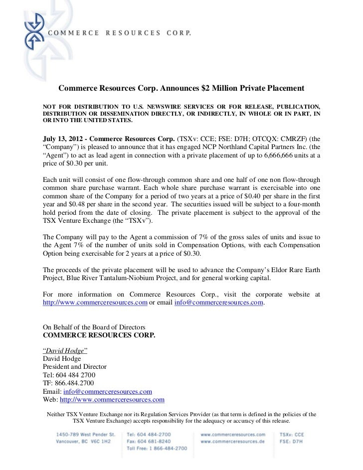Commerce Resources Corp. Announces $2 Million Private PlacementNOT FOR DISTRIBUTION TO U.S. NEWSWIRE SERVICES OR FOR RELEA...