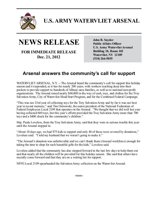 News release:  Watervliet Arsenal answers community's call for support - Dec. 21, 2012