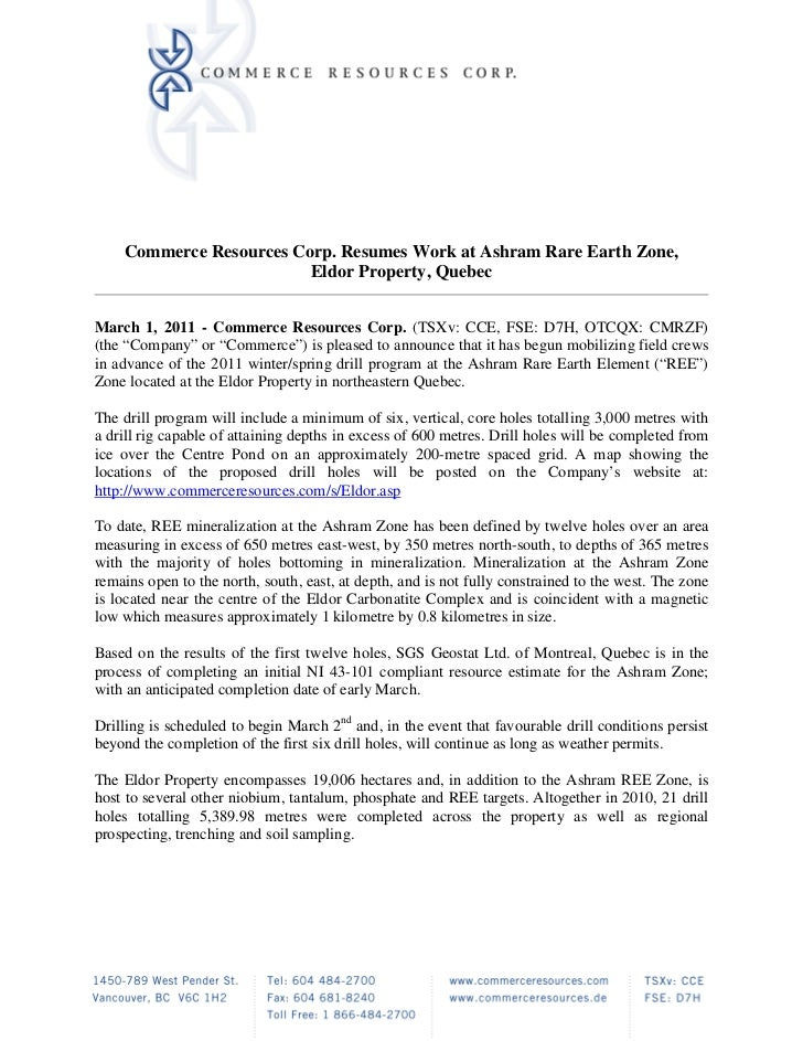 Commerce Resources Corp. Resumes Work at Ashram Rare Earth Zone,                         Eldor Property, QuebecMarch 1, 20...