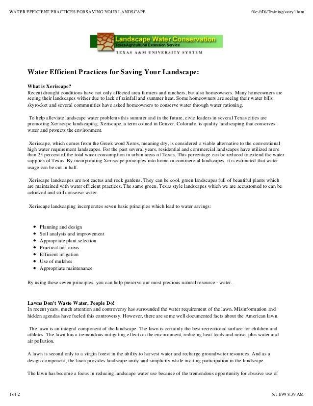 WATER EFFICIENT PRACTICES FORSAVING YOUR LANDSCAPE                                                                  file:/...