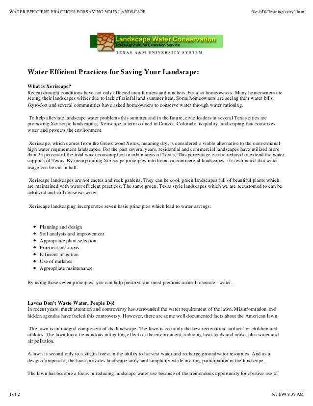 Water Efficient Practices for Saving Your Landscape - Texas A&M
