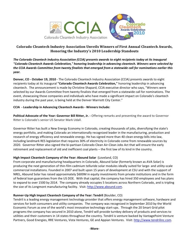 Colorado Cleantech Industry Association Unveils Winners of First Annual Cleantech Awards
