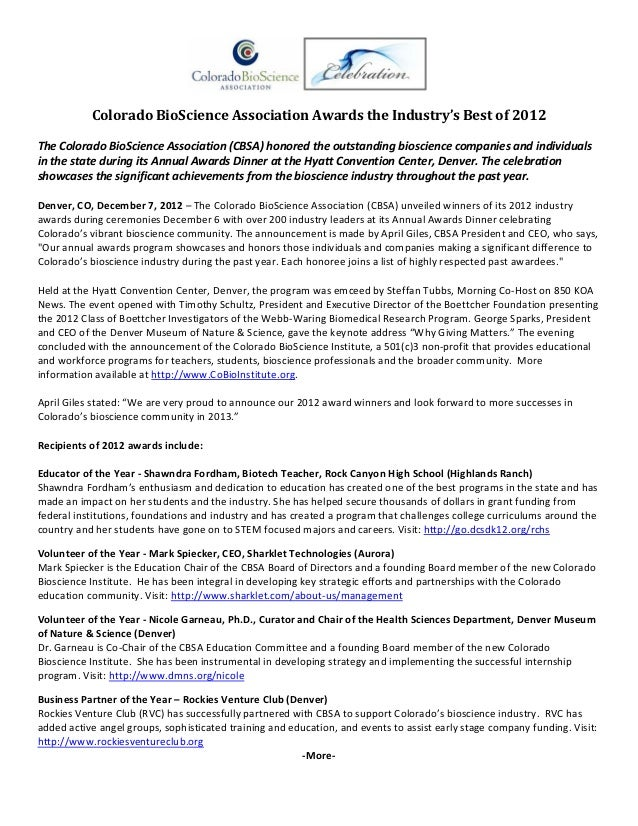 Colorado BioScience Association Awards the Industry's Best of 2012  The Colorado BioScience Association (CBSA) honored the...