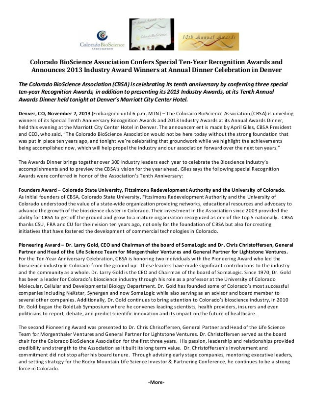 Colorado BioScience Association Confers Special Ten-Year Recognition Awards and Announces 2013 Industry Award Winners at Annual Dinner Celebration in Denver