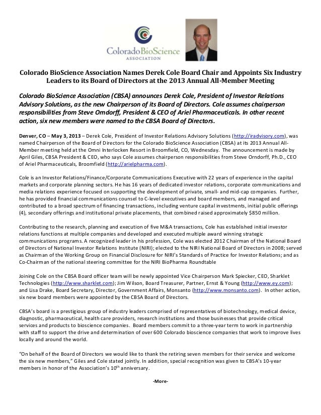Colorado BioScience Association Names Derek Cole Board Chair and Appoints Six Industry Leaders to its Board of Directors at the 2013 Annual All-Member Meeting