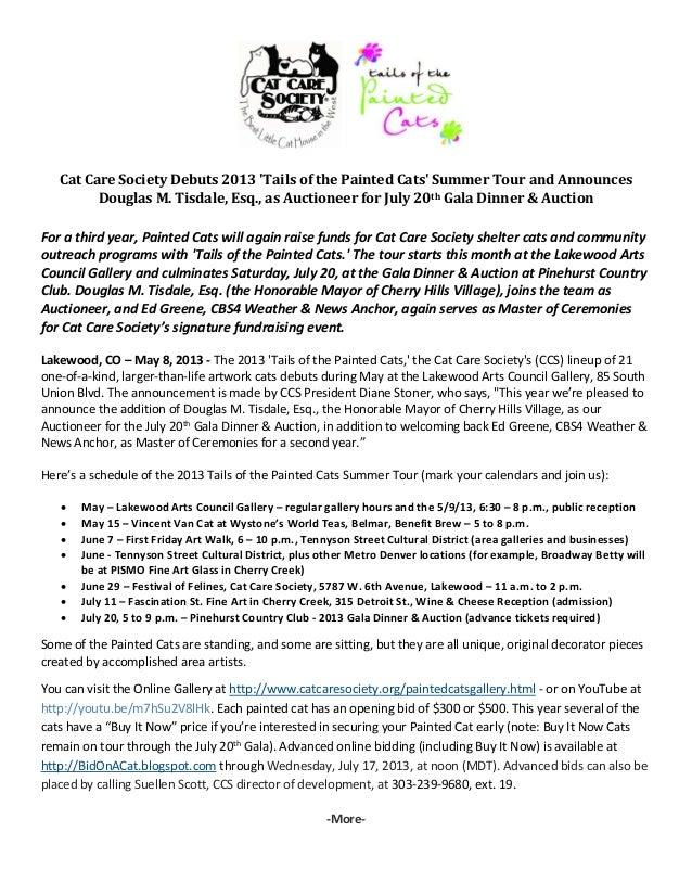 CatCareSocietyDebuts2013TailsofthePaintedCatsSummerTourandAnnouncesDouglasM.Tisdale,Esq.,asAuctioneer...