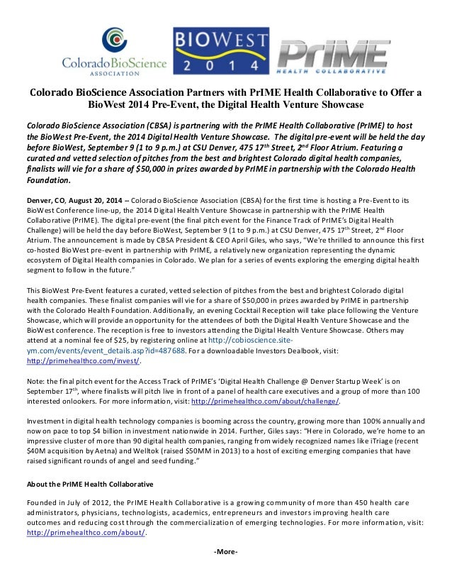 Colorado BioScience Association Partners with PrIME Health Collaborative to Offer a  BioWest 2014 Pre-Event, the Digital H...