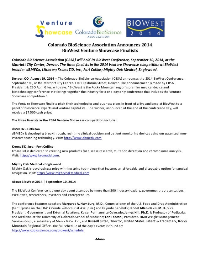 Colorado BioScience Association Announces 2014  BioWest Venture Showcase Finalists  Colorado BioScience Association (CBSA)...