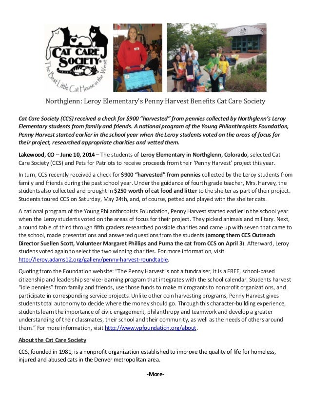 Northglenn: Leroy Elementary's Penny Harvest Benefits Cat Care Society