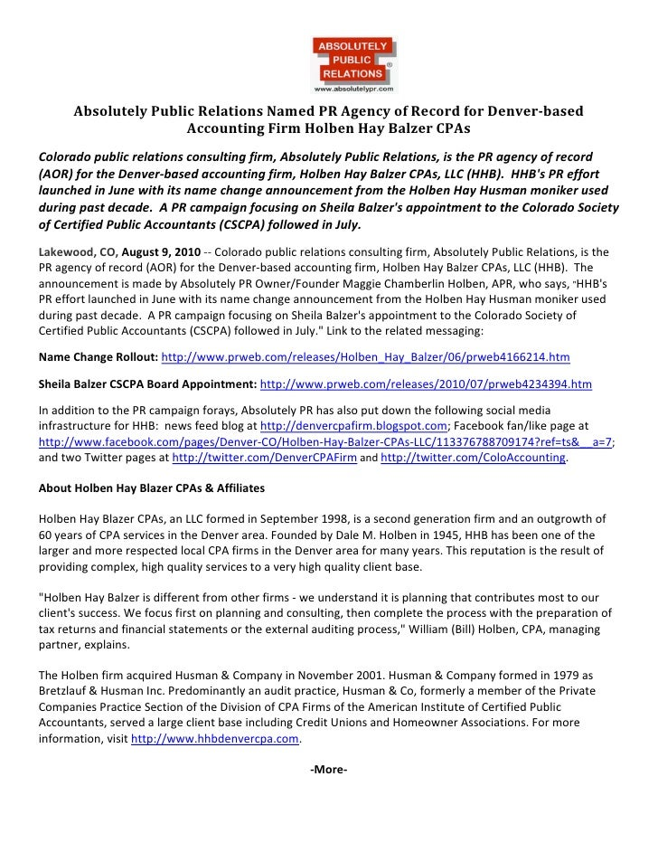 Absolutely Public Relations Named PR Agency of Record for Denver-based Accounting Firm Holben Hay Balzer CPAs