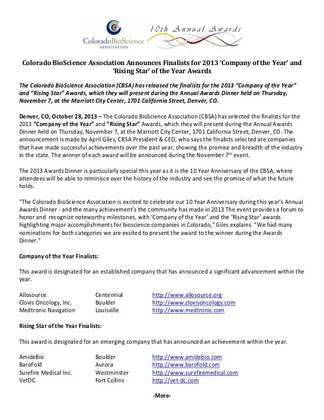 Colorado BioScience Association Announces Finalists for 2013 'Company of the Year' and 'Rising Star' of the Year Awards