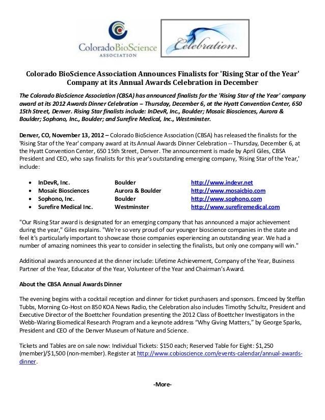 ColoradoBioScienceAssociationAnnouncesFinalistsforRisingStaroftheYear             CompanyatitsAnnualAwards...