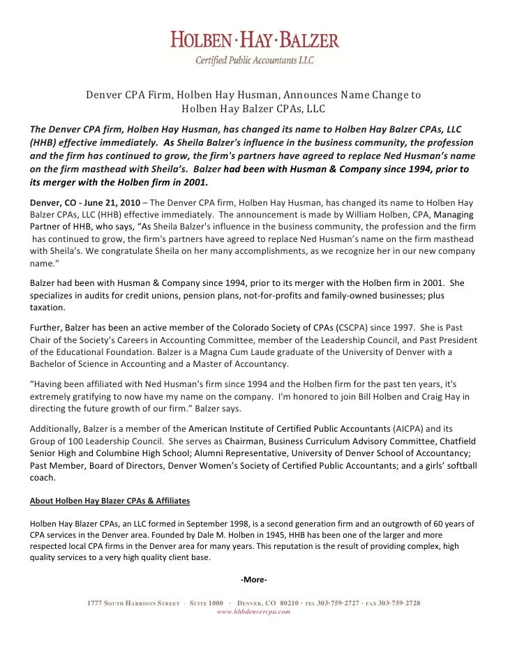 Denver CPA Firm, Holben Hay Husman, Announces Name Change to Holben Hay Balzer CPAs, LLC